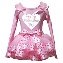 Petitebella My 1st Valentine Day L/s Shirt Pink Heart Petal Skirt Outfit Nb-8y