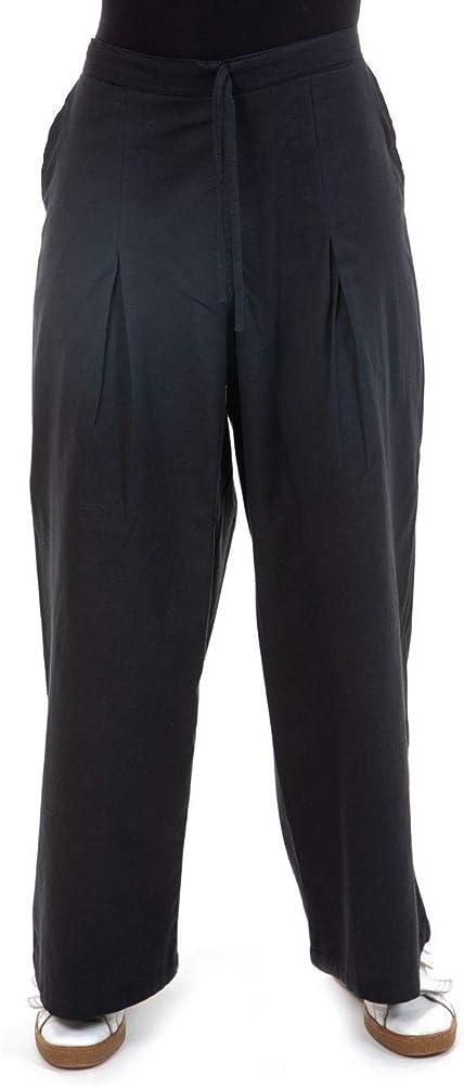 Fantaziia - Pantalón ancho negro puro de algodón adhesivo, talla única, 100 % algodón, color negro Negro Talla única: Amazon.es: Ropa y accesorios