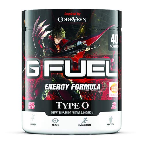 G Fuel Type O Tub (40 Servings) Elite Energy and Endurance Formula 9.8 oz. Inspired by Code Vein (Main Protagonist Label) by G Fuel