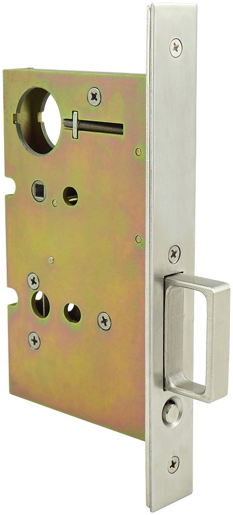 INOX PD80-234-14 Mortise Pocket Door Lock Passage with Finger Pull without Deadbolt, Polished Nickel