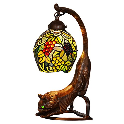 Bieye L10464 7-inches Grapes Tiffany Style Stained Glass Table Lamp with Cocked Tail Cat Base, 16-inches - Cat The Tiffany
