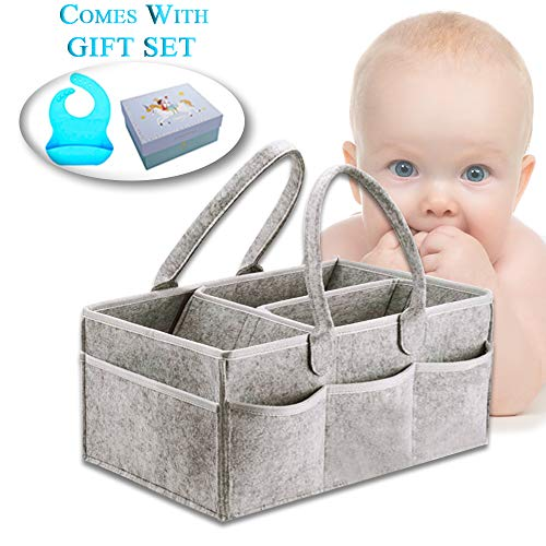 Portable Diaper-Caddy Organizer for Changing Diapers and Nursery Storage for Christmas and Baby Shower Cute and Unique Gift-Sets for Moms, Newborn Boys Girls Comes with Blue Color Bib