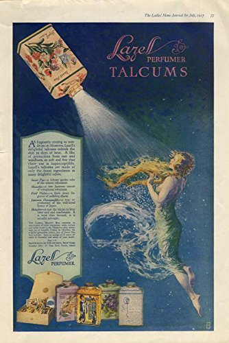 Lazell Perfumer Talcums fragrantly cooling as raindrops ad 1917 semi-nude