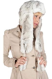 b343c1abf1b New Women s Diamante White Grey Ear Lap Fur Hat for Winter Ladies Winter  Hats