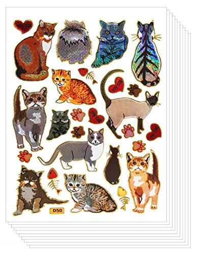 Glitter Cute Cat Scrapbook Stickers for Kids (10 sheets)