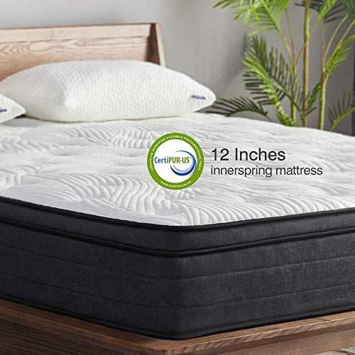 (Sweetnight King Mattress in a Box - 12 Inch Plush Pillow Top Hybrid Mattress, Gel Memory Foam for Sleep Cool, Motion Isolating Individually Wrapped Coils, CertiPUR-US Certified, King Size)