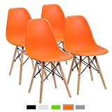 #8: Furmax Pre Assembled Mid Century Modern Style Dining Chair Eames Effiel Modern DSW Chair, Shell Lounge Plastic Chair for Kitchen, Dining, Bedroom, Living Room Side Chairs(Set of 4)(Orange)