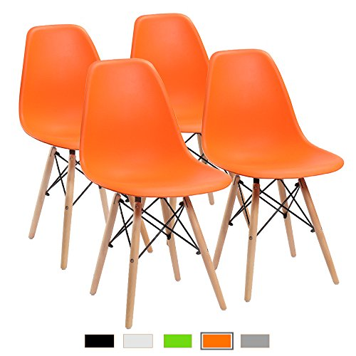 Furmax Pre Assembled Modern Style Dining Chair Mid Century Modern DSW Chair, Shell Lounge Plastic Chair for Kitchen, Dining, Bedroom, Living Room Side Chairs Set of 4(Orange) (Orange Table Kitchen)
