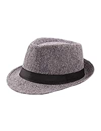 a7ba54f374d16d Bhwin Mens Short Brim Straw Fedora Hat Summer Beach Sun Hat Jazz Hat Light  Weight Panama