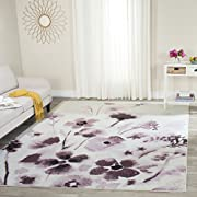 Safavieh Adirondack Collection ADR127L Ivory and Purple Vintage Floral Square Area Rug (6' Square)