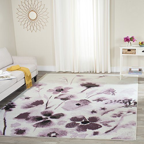 Safavieh Adirondack Collection ADR127L Ivory and Purple Vintage Floral Area Rug (8' x 10') - Accents Collection Floral Rug