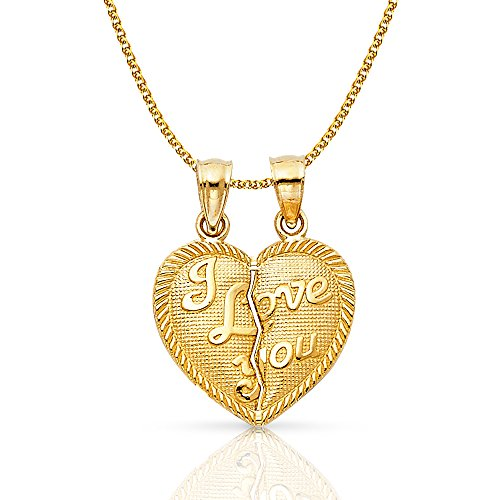 Ioka Jewelry - 14K Yellow Gold Small ''I Love You'' Couple Broken Heart Charm Pendant with 1.2mm Flat Open Wheat Chain - 22'' by Ioka Jewelry