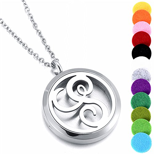 (memorial jewelry Women's Locket Necklace Perfume Fragrance Essential Oil Aromatherapy Diffuser)