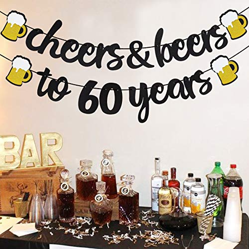 Cheers & Beers to 60 Years Black Glitter Banner for 60th Birthday Wedding Aniversary Party Supplies Decorations - PRESTRUNG -
