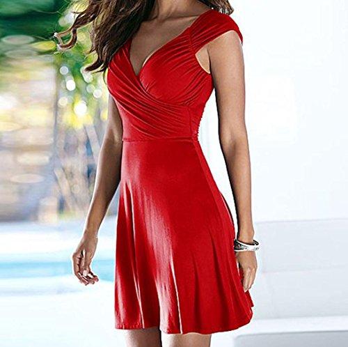 abito a scollo partito donna V Rosso Moda Vestito maniche da senza Line da S~XXL Amlaiworld A donna sera Elegante XBvwRq1Ix
