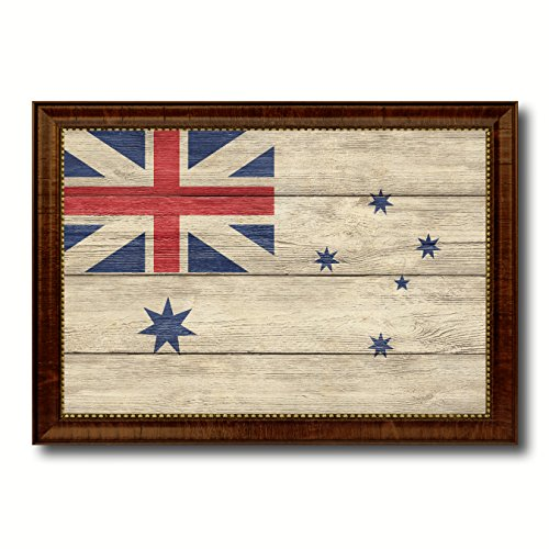 Australian White Ensign City Australia Country Flag Texture Canvas Print Brown Picture Frame Home Decor Wall Art Decoration Gifts - 15