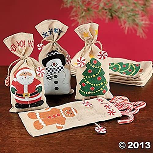 12 canvas holiday gift bags and ties set - Small Christmas Gifts