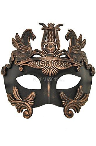 [Hagora, Men's Powerful Greek God Aged Black And Bronze Finish Venetian Mask] (Male Greek God Costumes)