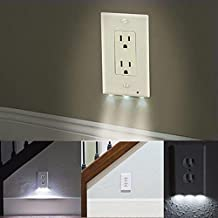 Zehui Wall-mount Safety Guidelight with Light Sensor Cover Light Outlet Coverplate with 3 LED Night Lights Switch Cover Plug