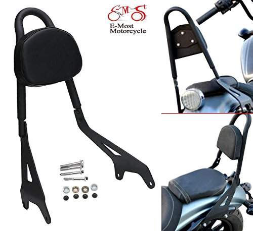(E-Most Detachable Driver Rider Backrest Sissy Bar Mount Set Rear Passenger Pad with Leather Back Rest Seat Pad Luggage Rack for 2014-2017 Yamaha Star Bolt XV950 XVS950)