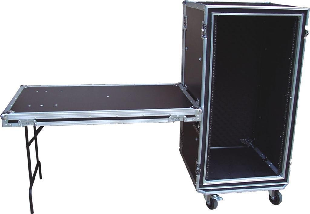 Audio Dynamics SP-18 18U Space ATA Shock Proof AMP Rack Flight Case for 19'' Rack with Foldout Table & Heavy-Duty Wheel Casters