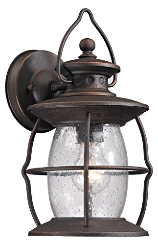 Village Lantern 1 Light Outdoor Sconce in Weathered Charcoal ()