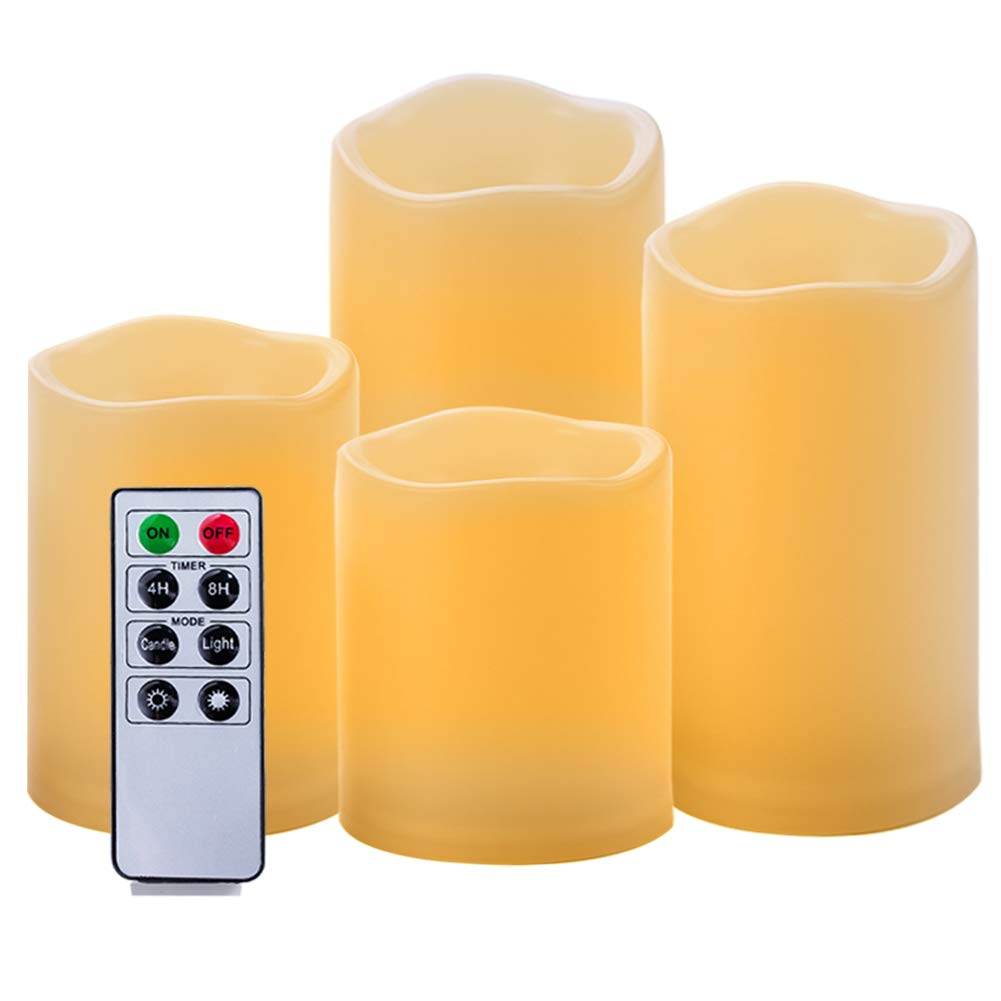 Homemory 4PCS Waterproof Flameless Pillar Candles Amber Yellow 3'' 4'' 5'' 6'' LED Battery Candles Remote Control & 4/8 Hours Timer Indoor/Outdoor Use