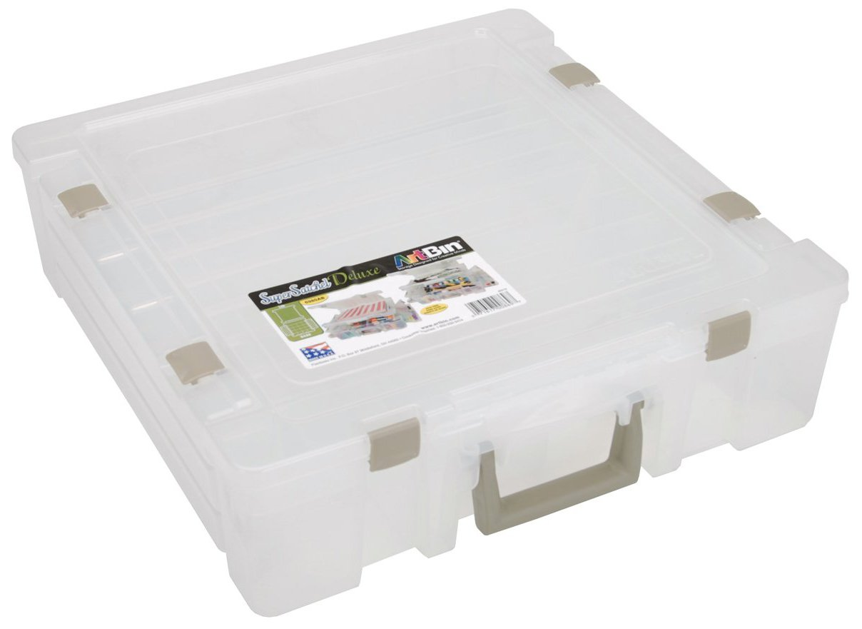 ArtBin Super Satchel Deluxe Divided Lid/Divided Base- Clear Storage Container, 6982AB