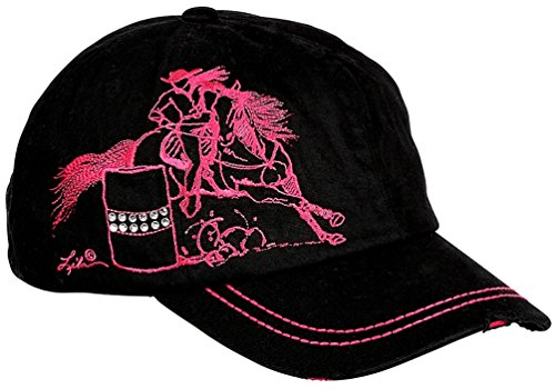 Barrel Racing Low Profile Ball Cap Black & Pink Embroidered Cowgirl Cadet Hat