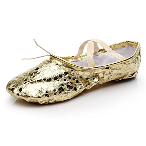 Girl's Spot Pu Ballet Dancing Yoga Practise Shoes B102CH-Gold