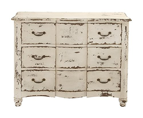 """Deco 79 18174 Wood Drawers Chest, 42"""" x 35"""", Ivory"""