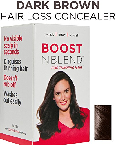 (BOOSTnBLEND Dark Brown Hair Loss Scalp Concealer Hair thickening Fibers for women with thinning hair. Use as fill in powder, hair filler GET YOUR CONFDENCE BACK. Root coverup 22g/0.78oz)