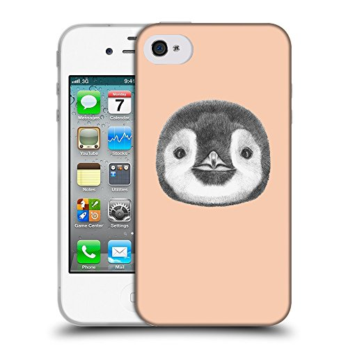 GoGoMobile Coque de Protection TPU Silicone Case pour // Q05310604 Visage pingouin Abricot // Apple iPhone 4 4S 4G