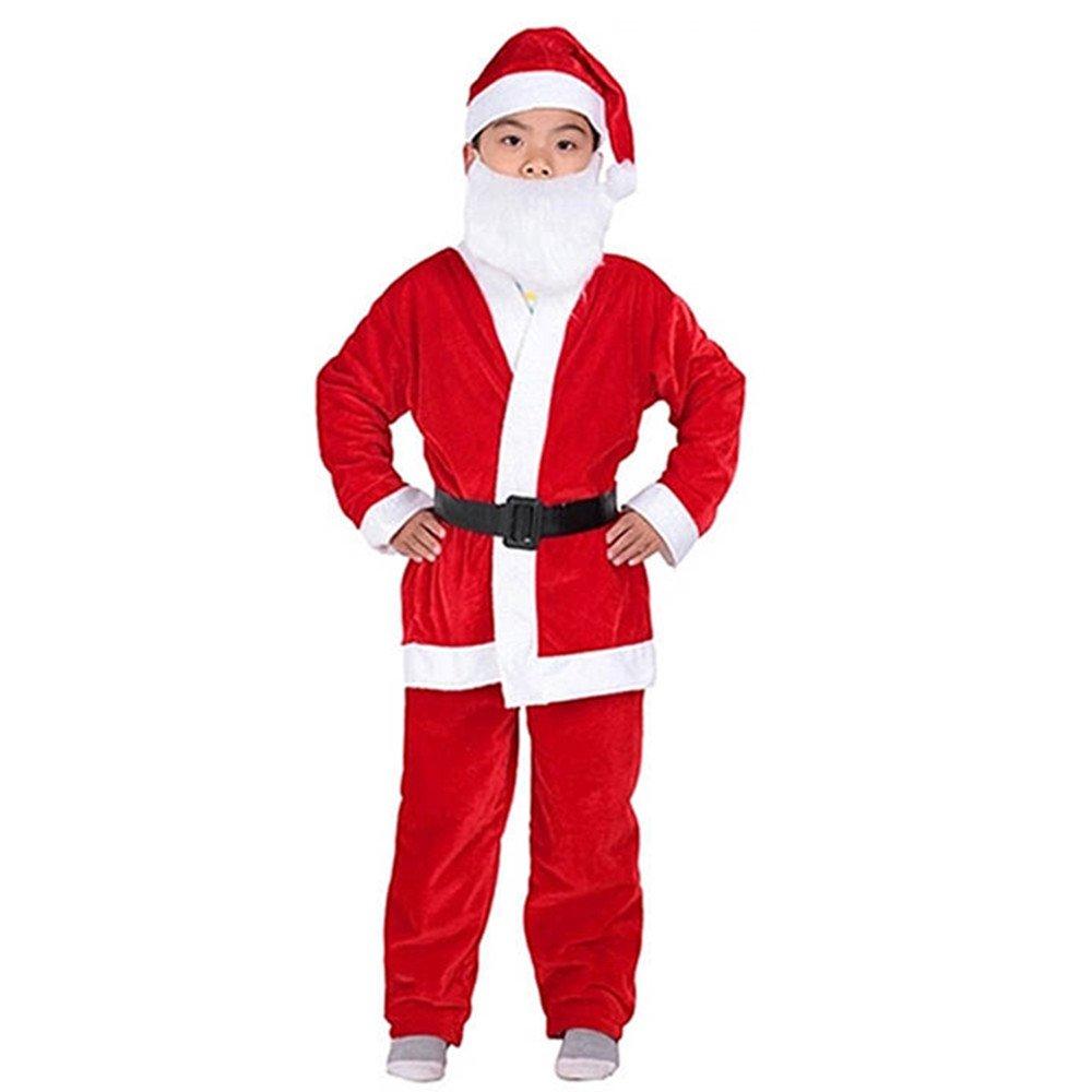 Kids Boys Christmas Santa Costume Set Red Velvet with Santa Hat and Belt 026D