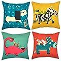 YOUR SMILE 4pcs Cotton Linen Sofa Home Decor Design Throw Pillow Case Cushion Covers Square 18 Inch …