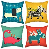 YOUR SMILE Cute Cartoon Animal Cotton Linen Decorative Throw Pillow Case Cushion Cover Pillowcase Sofa 18 x 18 inch, Set of 4