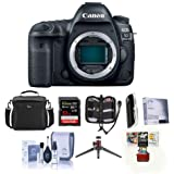 Canon EOS 5D Mark IV DSLR Body with Log - Bundle with 32GB U3 SDHC Card, Camera Case, Table Top Tripod, Cleaning Kit, Memory Wallet, Screen Protector, Card Reader, Mac Software Package