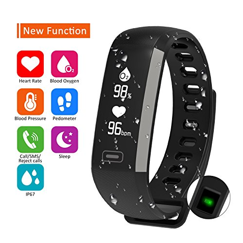 Parnerme Waterproof Fitness Tracker Wrist Based Heart Rate Monitor Activity Tracker,Blood Pressure Blood Oxygen Tracking,Pedometer Calorie Sleep Monitor Call/SMS Reminder -