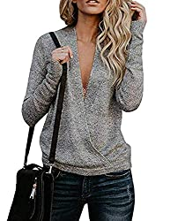 Womens Wrap Long Sleeve Knit Sweater Sexy Deep V Neck Pullover Cardigan Tops Grey L