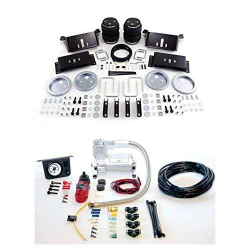 Air Lift 57215/25655 Rear Set of Load Lifter 5000 Series Air Springs w/Load Controller I Single Needle On-Board Air Compressor System Bundle for Chevy/Dodge/Ford/GMC -