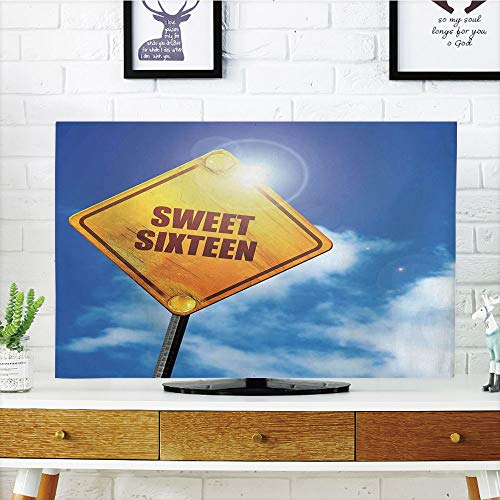 LCD TV dust Cover Strong Durability,16th Birthday Decorations,Sweet Sixteen Road Traffic Sign Under Cloudy Sky Symbol Print,Blue Marigold,Picture Print Design Compatible 42