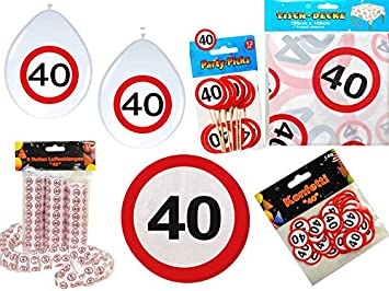 45 Tlg Partyset 40 Geburtstag Dekoset Dekobox Verkehrschild