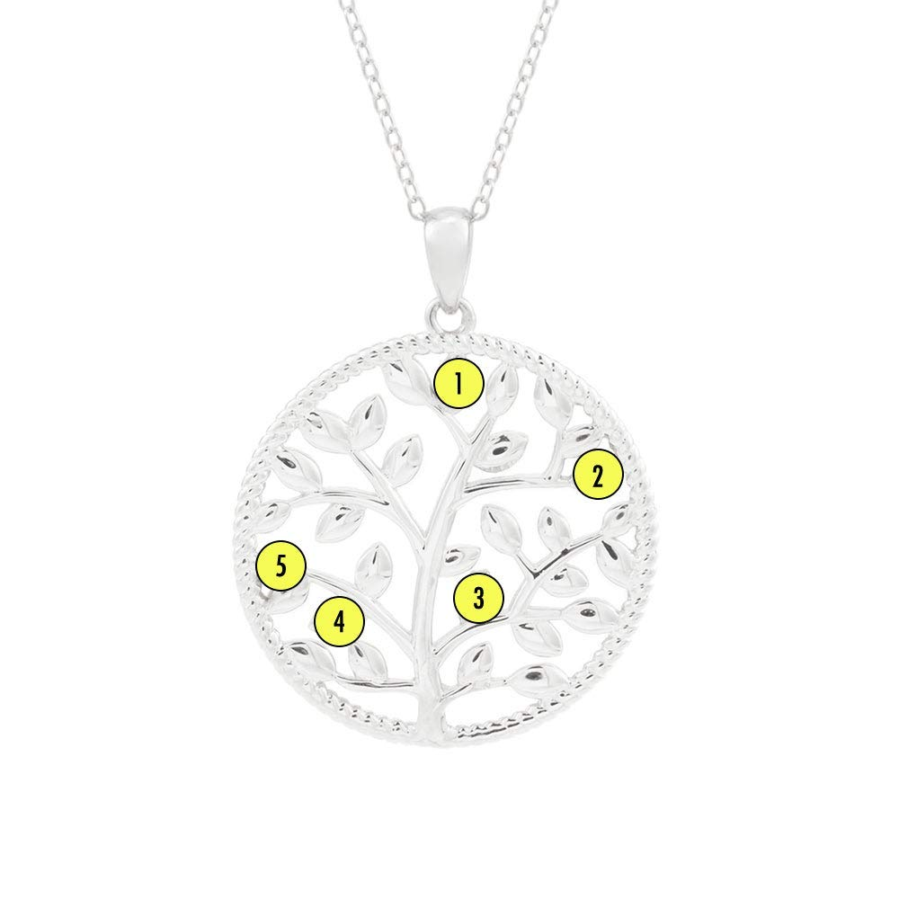 5 Simulated Stone Custom Silver Family Tree Necklace