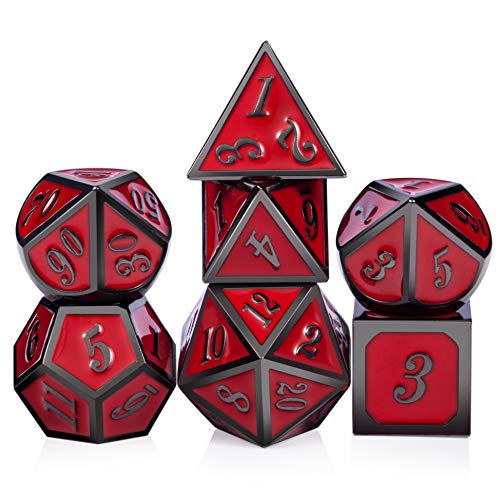 (Red D&D Game Dice,7 die Polyhedral Metal Dice with Gift Metal Tin for RPG DND Dungeons and Dragons Dice Collector Board Game Player)