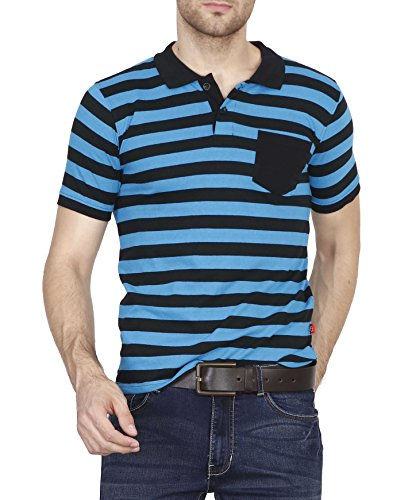Fanideaz Branded Men's Half Sleeve Royal Blue with Grey Contrast Striped Polo Tshirt
