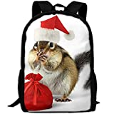 ZQBAAD Red Santa Claus Hats And Sacks Luxury Print Men And Women's Travel Knapsack