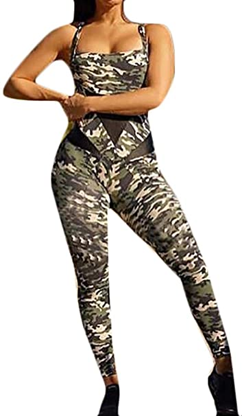 FSSE Womens Backless Gym Workout Bodycon Skinny Camouflage Yoga Jumpsuit Romper