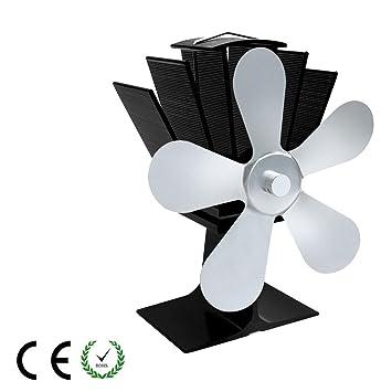 HLDUYIN Ventiladores para Chimeneas 5-Blade-Ventilador Alimentado por Calor para Leña Quemador De Madera Ultra Silencioso Eco-Friendly Estufa De Leña De ...