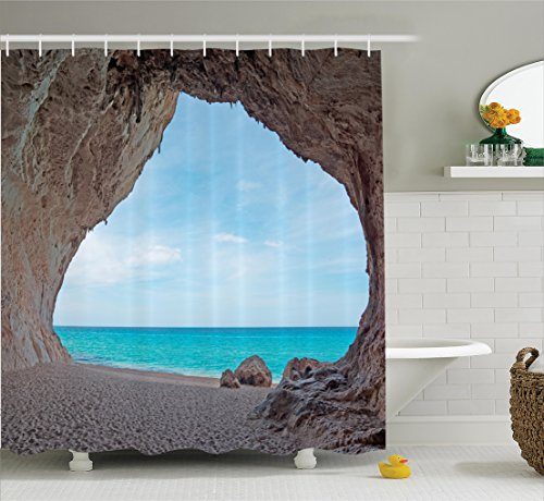 Natural Cave Decorations Shower Curtain Set By Ambesonne, Dreamy Cara Luna Cave By The Ocean Tropical Beach in Mediterranean Seashore, Bathroom Accessories, 75 Inches Long, Cream Blue