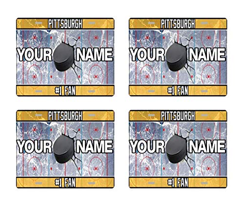 BRGiftShop Personalize Your Own Hockey Team Pittsburgh Set of 4 Square Beverage Coasters ()